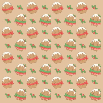 메리 크리스마스 귀여운 생강 쿠키 그리기 패턴 배경 선물 포장