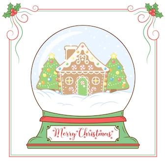 赤いベリーフレームでスノードームを描くメリークリスマスかわいいジンジャーブレッドハウス