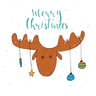 プレゼント用の鹿とメリークリスマスかわいいグリーティングカード。手書きのスタイル、休日の招待状、子供部屋、保育園の装飾、インテリアデザイン、パーティーの招待状、本の表紙