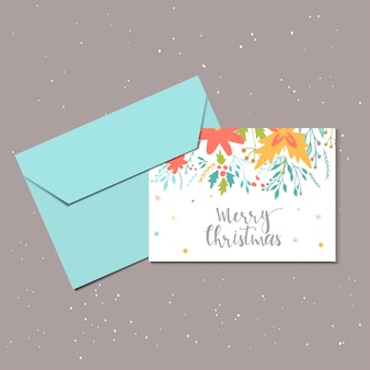 Merry christmas cute greeting card with floral and envelope for present. hand drawn style of posters for invitation, children room, nursery decor, interior design. vector template.