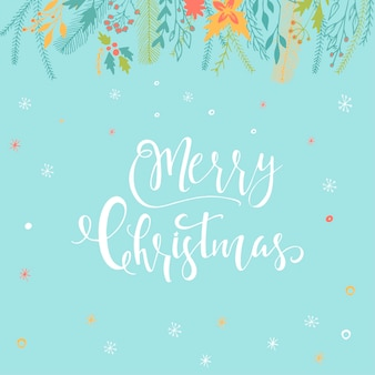 Merry christmas cute greeting card with floral, lettering for presents. hand drawn style of posters for invitation, children room, nursery decor, interior design.