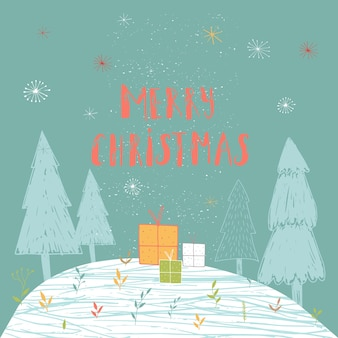 Merry christmas cute greeting card with forest and presents. hand drawn style of posters for invitation, children room, nursery decor, interior design.