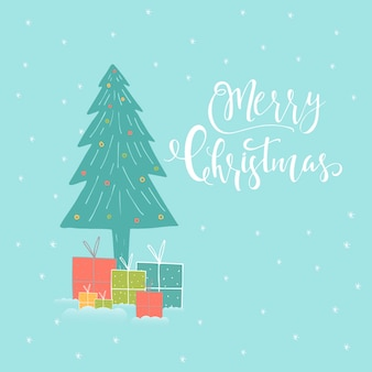 Merry christmas cute greeting card with forest, tree, lettering for presents. hand drawn style of posters for invitation, children room, nursery decor, interior design.