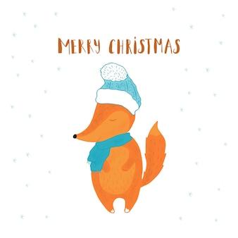 プレゼント用キツネとメリークリスマスかわいいグリーティングカード。手書きのスタイル、休日の招待状、子供部屋、保育園の装飾、インテリアデザイン、パーティーの招待状、本の表紙