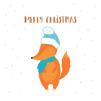 Merry christmas cute greeting card with fox for present.  handwritten style, for holiday invitation, children room, nursery decor, interior design, party invitation, book cover
