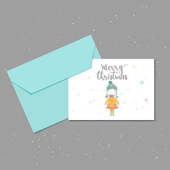 С рождеством христовым милая открытка с девушкой и конвертом для настоящего времени. ручной обращается стиль плакатов для приглашения, детской комнаты, декора детской, дизайна интерьера. векторный шаблон.