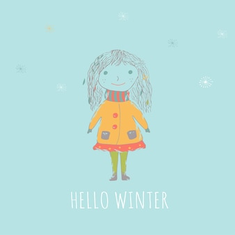 Merry christmas cute greeting card with girl for presents. hand drawn style of posters for invitation, children room, nursery decor, interior design. Premium Vector
