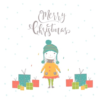 Merry christmas cute greeting card with girl, presents and lettering quote. hand drawn style of posters for invitation, holiday design,  children room, nursery decor.