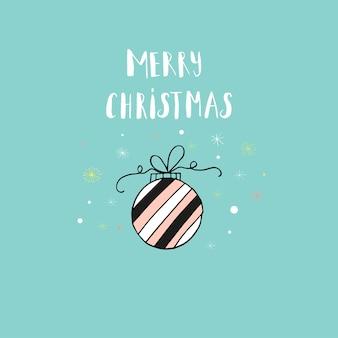 休日の装飾が施されたメリークリスマスかわいいグリーティングカード。招待状、子供部屋、保育園の装飾、インテリアデザインのポスターのスカンジナビアスタイル。
