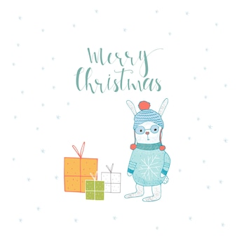 Merry christmas cute greeting card with lettering,  hare and presents. hand drawn style of posters for invitation, children room, nursery decor, interior design.