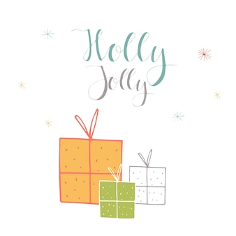 Merry christmas cute greeting card with lettering holly jolly and presents. hand drawn style of posters for invitation, children room, nursery decor, interior design.