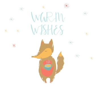 Merry christmas cute greeting card with lettering warm wishes and fox holding hot cup of tea. hand drawn style of posters for invitation, children room, nursery decor, interior design.