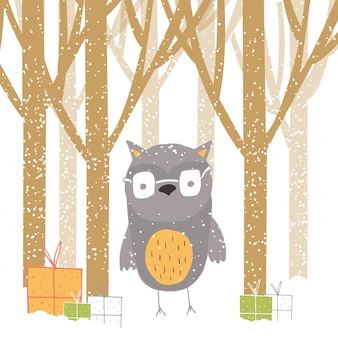 Merry christmas cute greeting card with owl, forest and presents. hand drawn style of posters for invitation, children room, nursery decor, interior design.