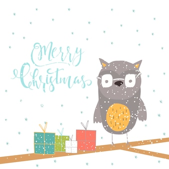Merry christmas cute greeting card with owl for presents. hand drawn style of posters for invitation, children room, nursery decor, interior design.