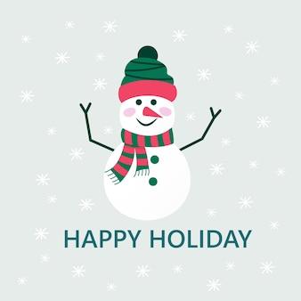 新年あけましておめでとうございますプレゼントのための雪だるまと雪片とメリークリスマスかわいいグリーティングカード。招待状、子供部屋、保育園の装飾、インテリアデザインのポスターのスカンジナビアスタイル