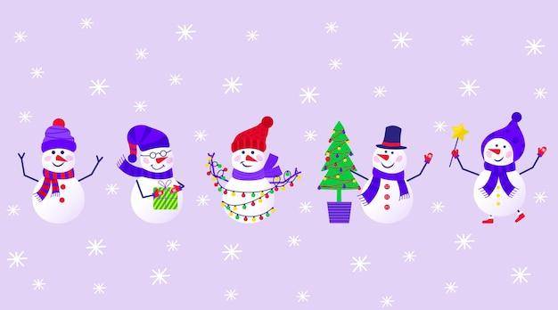 新年あけましておめでとうございますプレゼントのための雪だるまと雪片とメリークリスマスかわいいグリーティングカード。招待状、子供部屋、保育園の装飾、インテリアデザイン、ステッカー用のスカンジナビアスタイルのセット