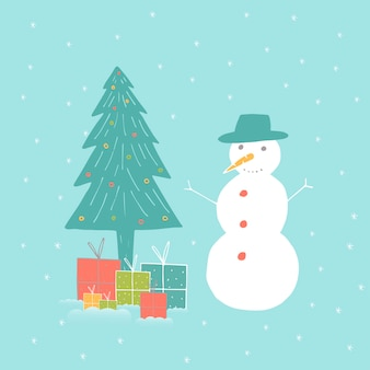 Merry christmas cute greeting card with snowman for presents. hand drawn style of posters for invitation, children room, nursery decor, interior design.