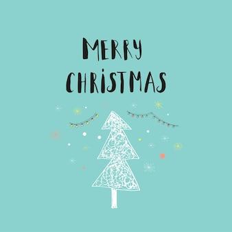 ツリーとメリークリスマスかわいいグリーティングカード。招待状、子供部屋、保育園の装飾、インテリアデザインのポスターのスカンジナビアスタイル。