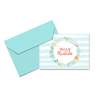 Merry christmas cute greeting card with wreath and envelope for present. hand drawn style of posters for invitation, children room, nursery decor, interior design. vector template.