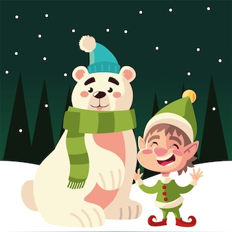 Merry christmas cute helper and polar bear in the snow illustration