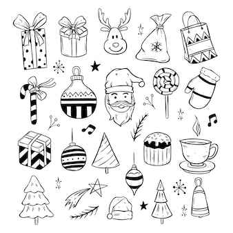 Merry christmas cute icons with black and white doodle style