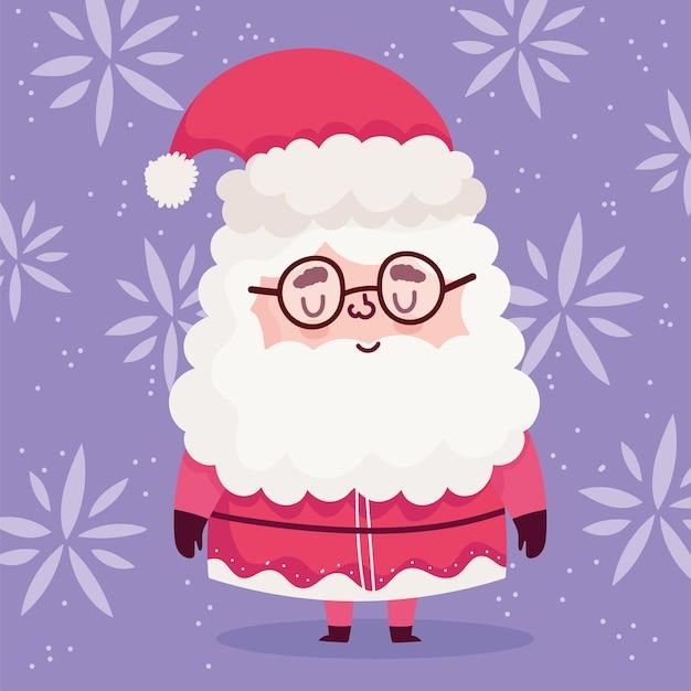 С рождеством, милый маленький санта-клаус с очками и цветами векторная иллюстрация