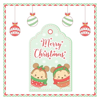Merry christmas cute mouses drawing tag card with ornaments