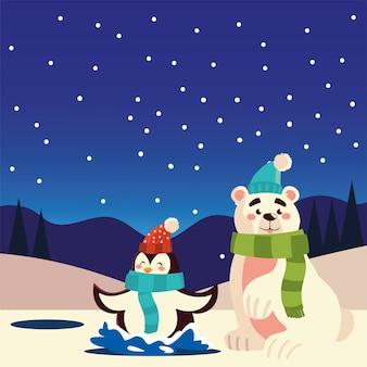 С рождеством христовым милый пингвин и белый медведь на иллюстрации празднования озера Premium векторы
