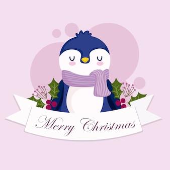 메리 크리스마스, 귀여운 펭귄 동물 리본 홀리 베리 카드 일러스트
