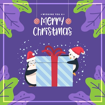 Merry christmas cute penguin background.