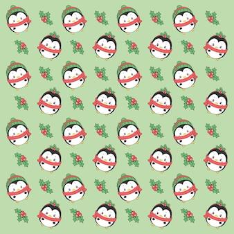 메리 크리스마스 귀여운 펭귄 그리기 패턴 배경 선물 포장