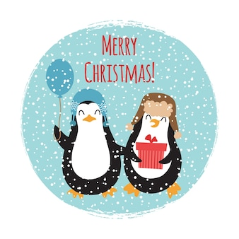 Merry christmas cute penguins vintage card design isolated on white