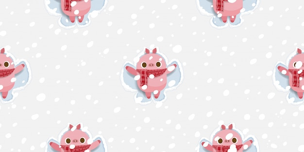 Merry christmas, cute pig making snow angel seamless pattern.