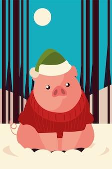 雪のイラストで帽子セーターとメリークリスマスかわいい豚