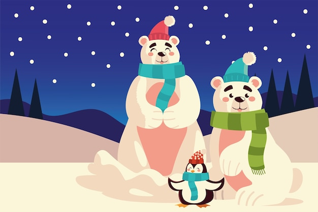 Merry christmas cute polar bears and penguin sitting in the snow illustration