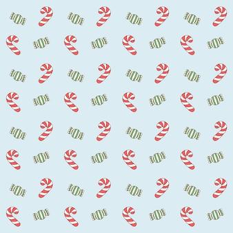 메리 크리스마스 귀여운 빨강 및 녹색 사탕 선물 포장 패턴 배경 그리기