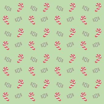 Merry christmas cute red and green candy drawing pattern background for gifts wrap