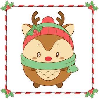 Merry christmas cute reindeer drawing with christmas berry hat and green scarf for winter season