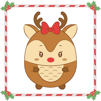 Merry christmas cute reindeer drawing with red bow