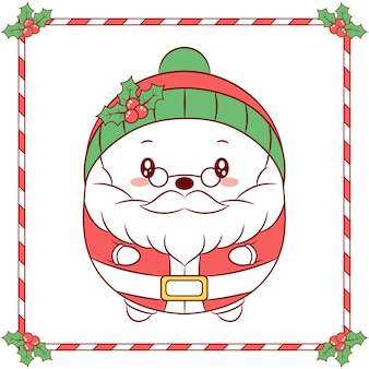 Merry christmas cute santa claus drawing with christmas berry green hat winter season