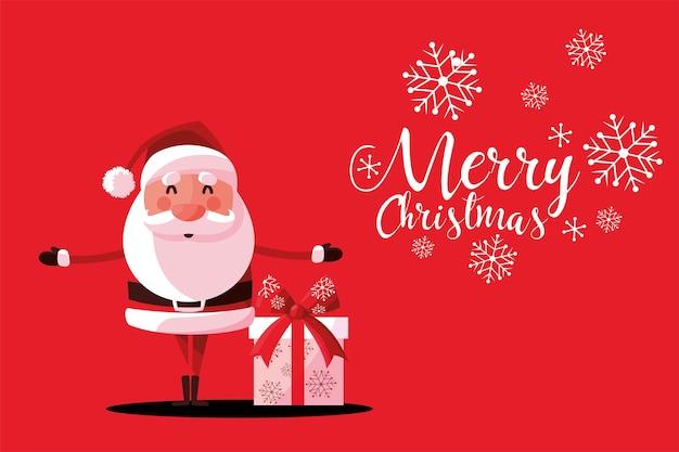 С рождеством христовым милый санта-клаус с подарочной коробкой и иллюстрацией карты снежинок