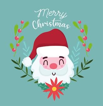 メリークリスマス、挨拶のベクトル図のかわいいサンタの顔の花の花輪の装飾カード