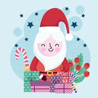 Merry christmas cute santa gift boxes candy and holly berry