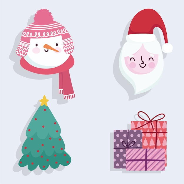 Merry christmas cute santa snowman gifts and tree icons