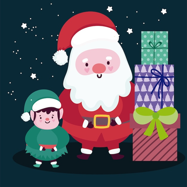 Merry christmas cute santa with elf and gift boxes