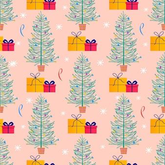 新年あけましておめでとうございますプレゼントのためのモミの木、ギフト、雪片とメリークリスマスかわいいシームレスパターン。招待状、子供部屋、保育園の装飾、インテリアデザイン、テキスタイルのためのスカンジナビアスタイルのセット