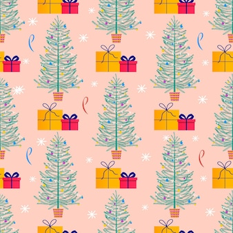 Merry christmas cute seamless pattern with fir tree, gifts and snowflakes for happy new year presents. scandinavian style set for invitation, children room, nursery decor, interior design, textile