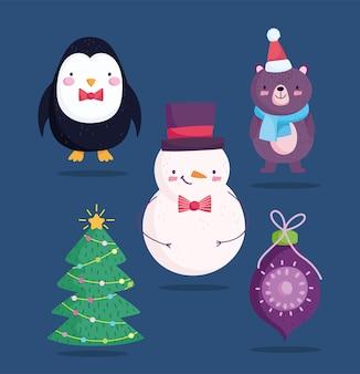 메리 크리스마스, 귀여운 눈사람 곰 펭귄 공 및 트리 만화 아이콘 그림