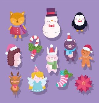 Счастливого рождества, милый снеговик, медведь, пингвин, олень, кролик, лиса, цветок, носок, иллюстрации шаржа