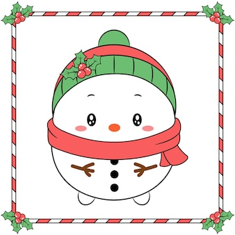 Merry christmas cute snowman drawing with christmas berry green hat and red scarf winter season